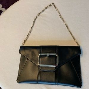 Black Clutch with Gold Chain